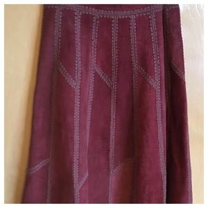 Burgundy Suede Leather Midi Skirt Vintage Size 13
